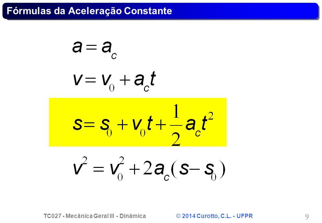 TC027 - Mecânica Geral III - Dinâmica © 2014 Curotto, C.L. - UFPR 30 Problema 12.106 - Solução