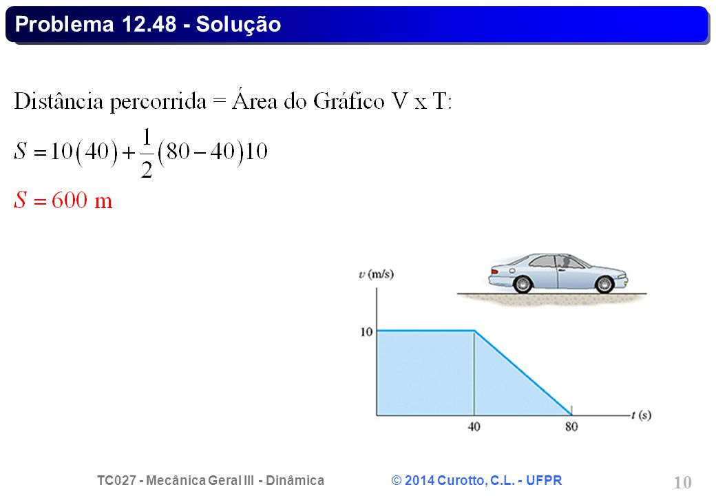 TC027 - Mecânica Geral III - Dinâmica © 2014 Curotto, C.L. - UFPR 10 Problema 12.48 - Solução
