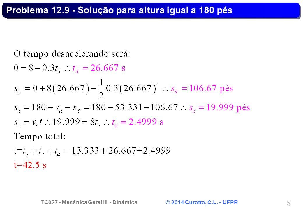 TC027 - Mecânica Geral III - Dinâmica © 2014 Curotto, C.L. - UFPR 9 Problema 12.48