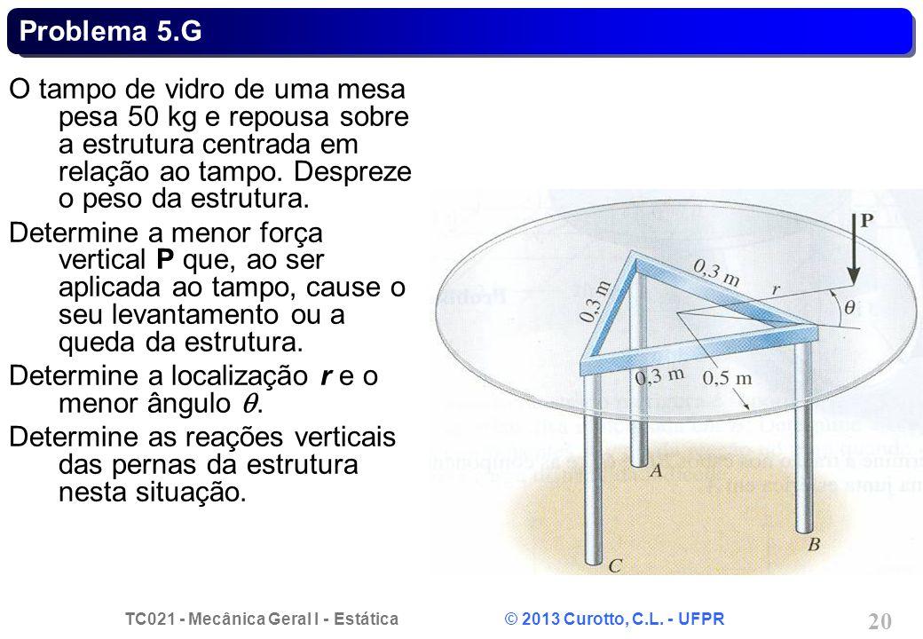 TC021 - Mecânica Geral I - Estática © 2013 Curotto, C.L. - UFPR 20 Problema 5.G O tampo de vidro de uma mesa pesa 50 kg e repousa sobre a estrutura ce