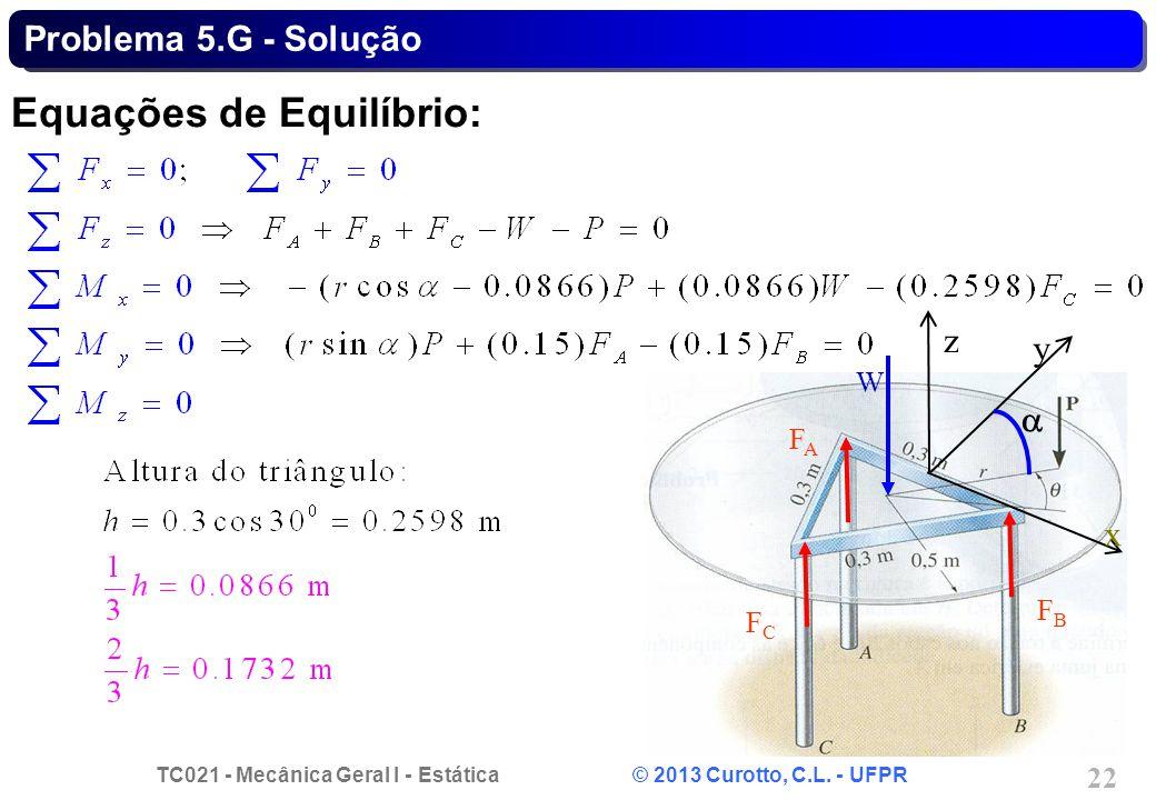 TC021 - Mecânica Geral I - Estática © 2013 Curotto, C.L. - UFPR 22 z W FAFA FCFC FBFB y x Problema 5.G - Solução Equações de Equilíbrio: