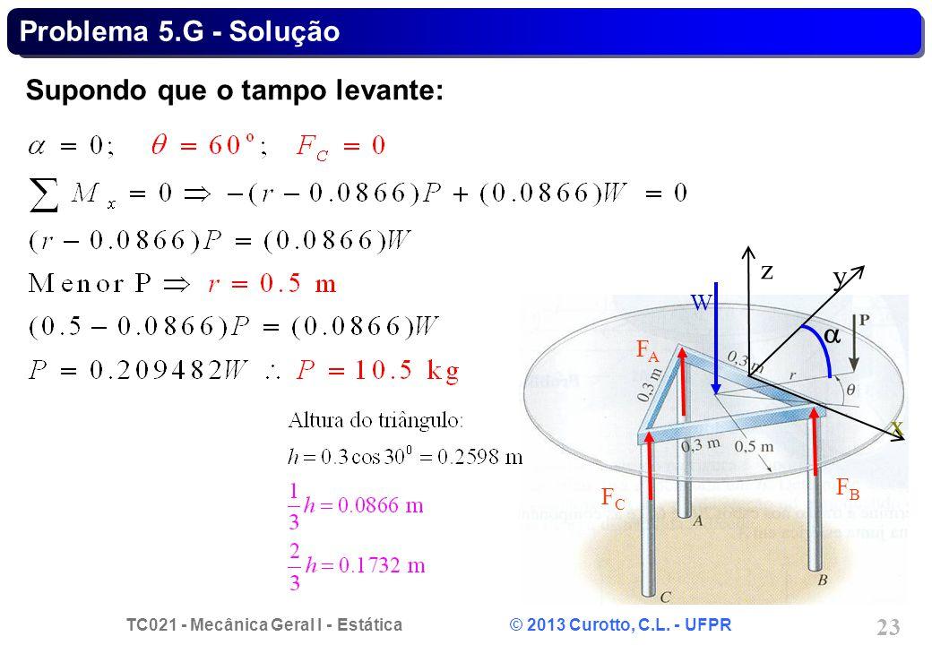 TC021 - Mecânica Geral I - Estática © 2013 Curotto, C.L. - UFPR 23 Problema 5.G - Solução Supondo que o tampo levante: z W FAFA FCFC FBFB y x