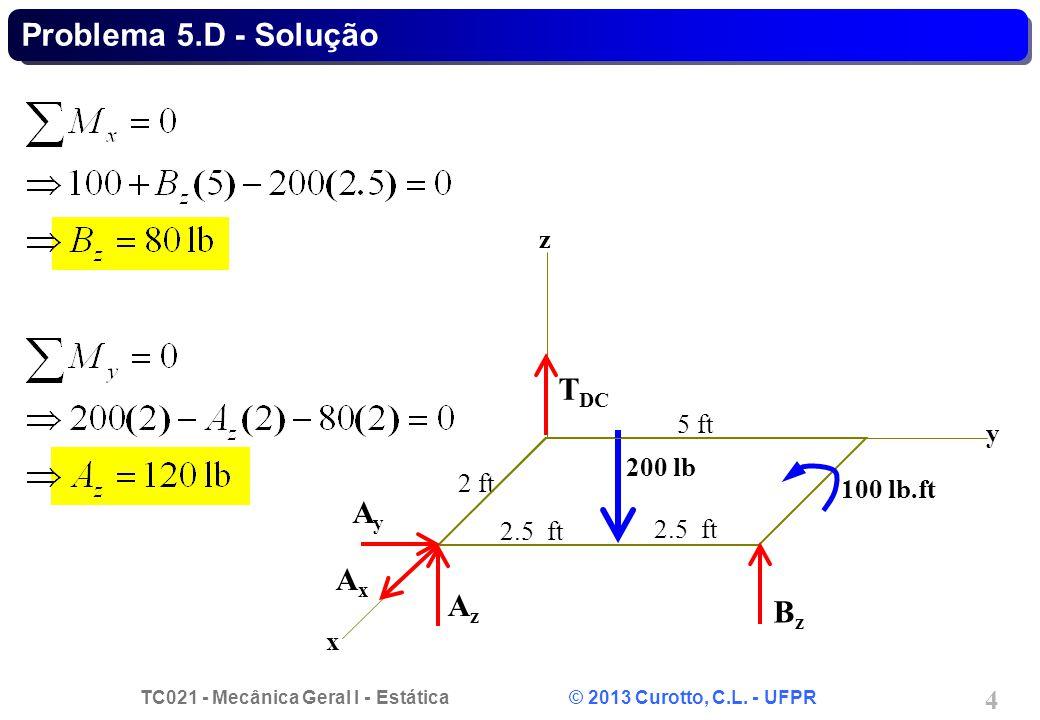 TC021 - Mecânica Geral I - Estática © 2013 Curotto, C.L. - UFPR 4 Problema 5.D - Solução AxAx AyAy AzAz T DC BzBz 2 ft x y z 200 lb 100 lb.ft 5 ft 2.5