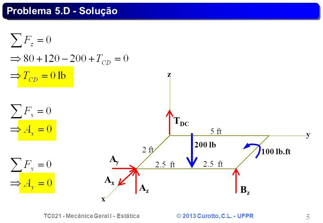 TC021 - Mecânica Geral I - Estática © 2013 Curotto, C.L. - UFPR 5 Problema 5.D - Solução AxAx AyAy AzAz T DC BzBz 2 ft x y z 200 lb 100 lb.ft 5 ft 2.5