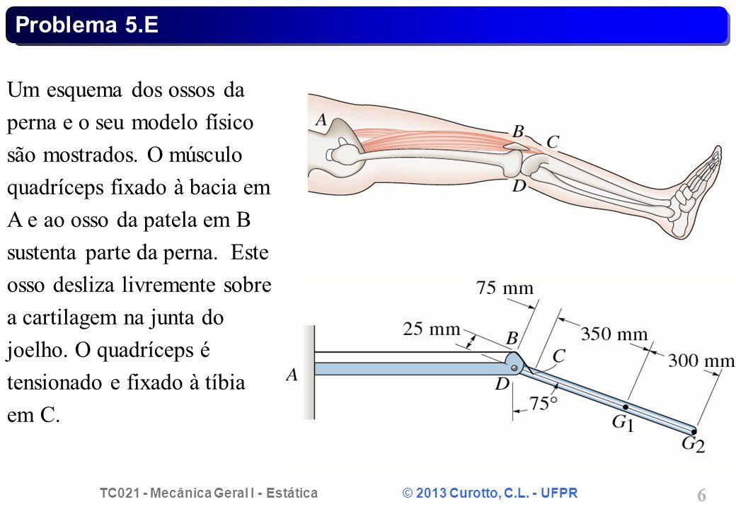 TC021 - Mecânica Geral I - Estática © 2013 Curotto, C.L. - UFPR 6 Problema 5.E Um esquema dos ossos da perna e o seu modelo físico são mostrados. O mú