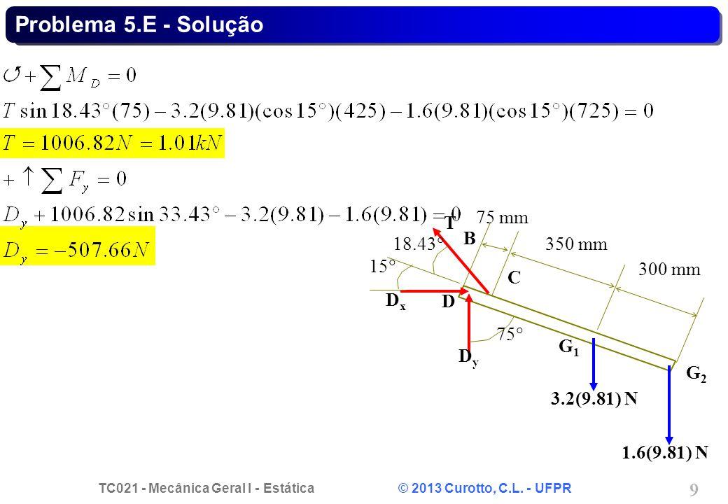TC021 - Mecânica Geral I - Estática © 2013 Curotto, C.L. - UFPR 9 Problema 5.E - Solução B G1G1 C G2G2 D DxDx DyDy 75 18.43 15 75 mm 350 mm 300 mm 3.2