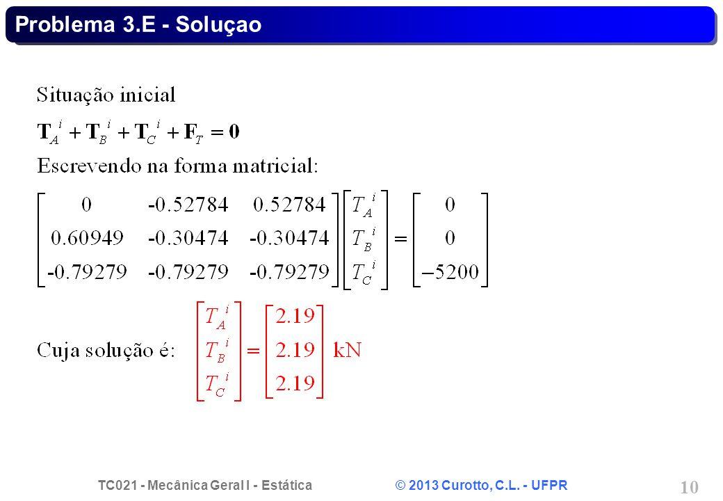 TC021 - Mecânica Geral I - Estática © 2013 Curotto, C.L. - UFPR 10 Problema 3.E - Soluçao
