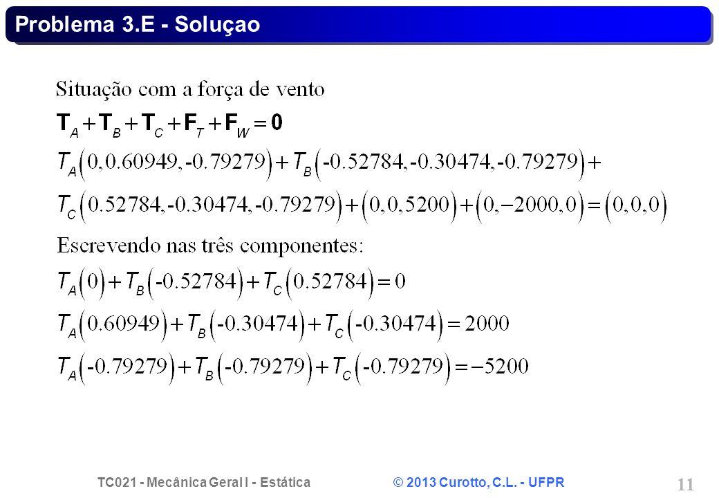 TC021 - Mecânica Geral I - Estática © 2013 Curotto, C.L. - UFPR 11 Problema 3.E - Soluçao