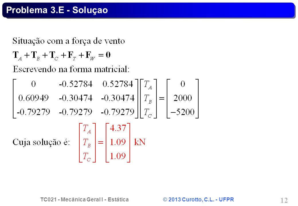 TC021 - Mecânica Geral I - Estática © 2013 Curotto, C.L. - UFPR 12 Problema 3.E - Soluçao