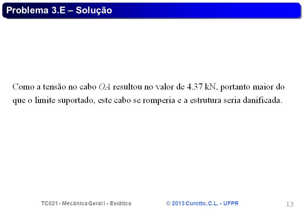 TC021 - Mecânica Geral I - Estática © 2013 Curotto, C.L. - UFPR 13 Problema 3.E – Solução