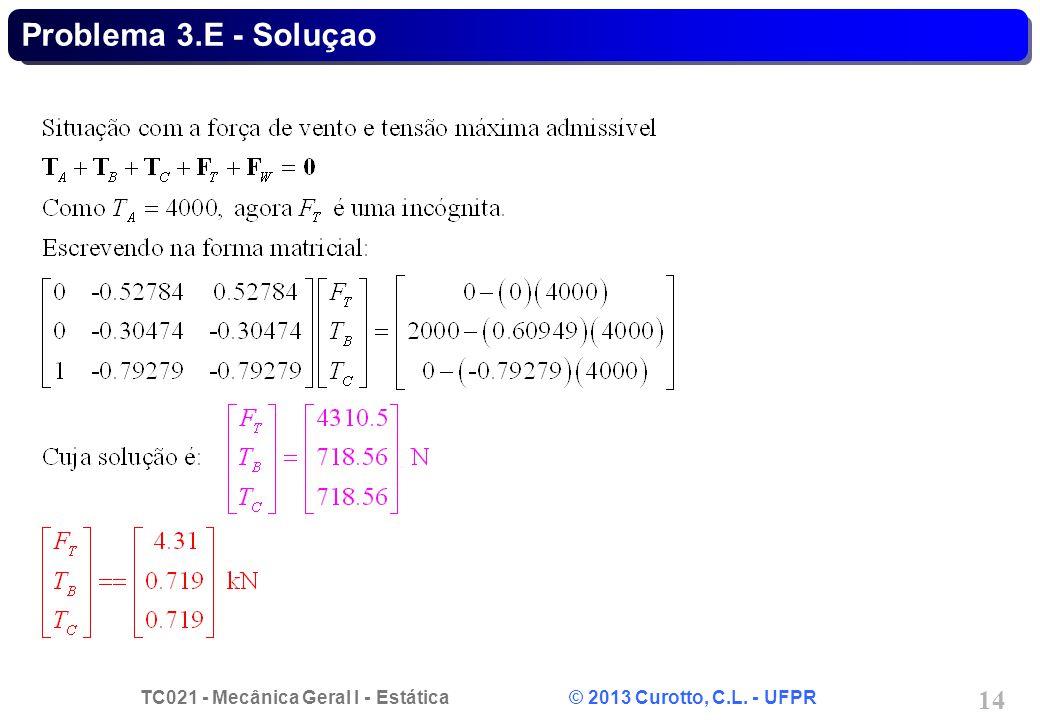 TC021 - Mecânica Geral I - Estática © 2013 Curotto, C.L. - UFPR 14 Problema 3.E - Soluçao