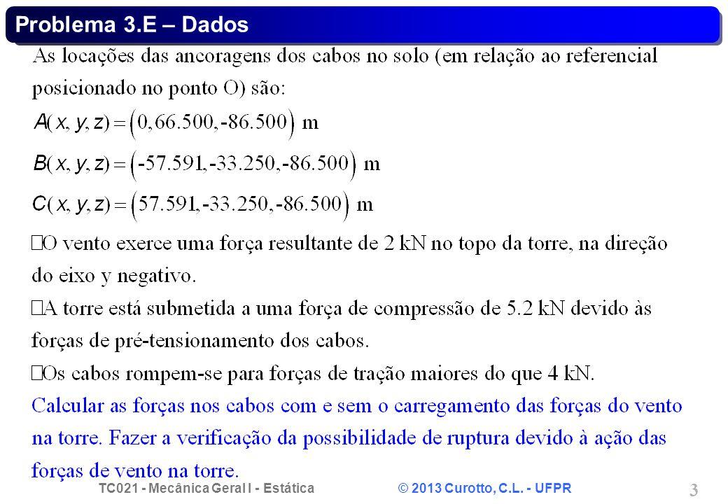 TC021 - Mecânica Geral I - Estática © 2013 Curotto, C.L. - UFPR 3 Problema 3.E – Dados