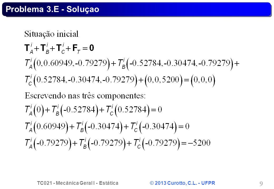 TC021 - Mecânica Geral I - Estática © 2013 Curotto, C.L. - UFPR 9 Problema 3.E - Soluçao
