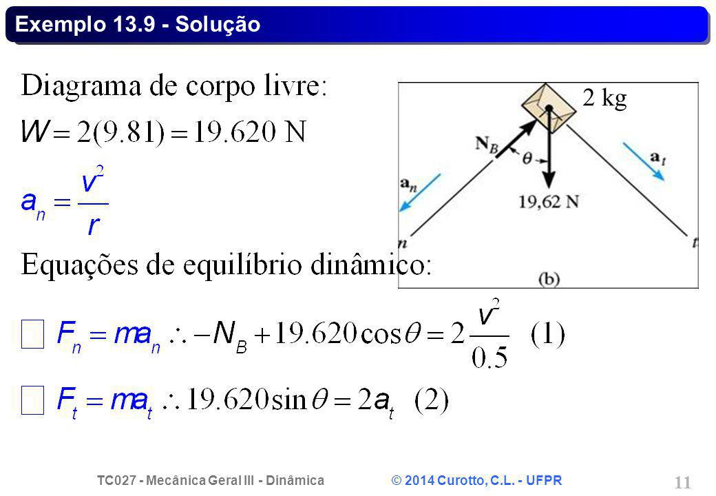 TC027 - Mecânica Geral III - Dinâmica © 2014 Curotto, C.L. - UFPR 11 Exemplo 13.9 - Solução 2 kg