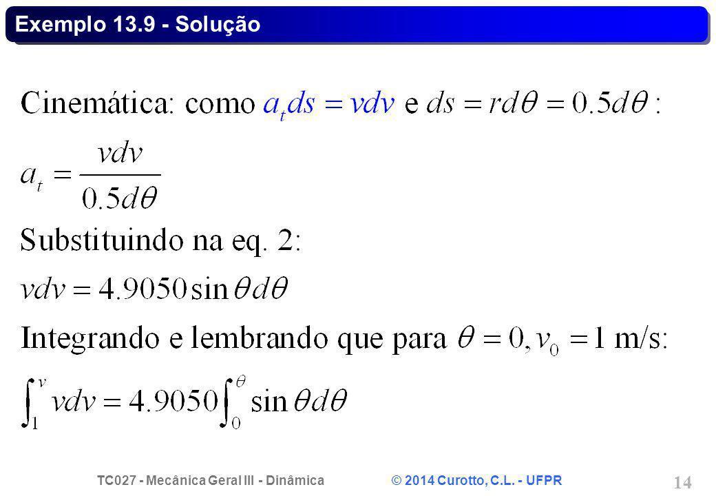 TC027 - Mecânica Geral III - Dinâmica © 2014 Curotto, C.L. - UFPR 14 Exemplo 13.9 - Solução