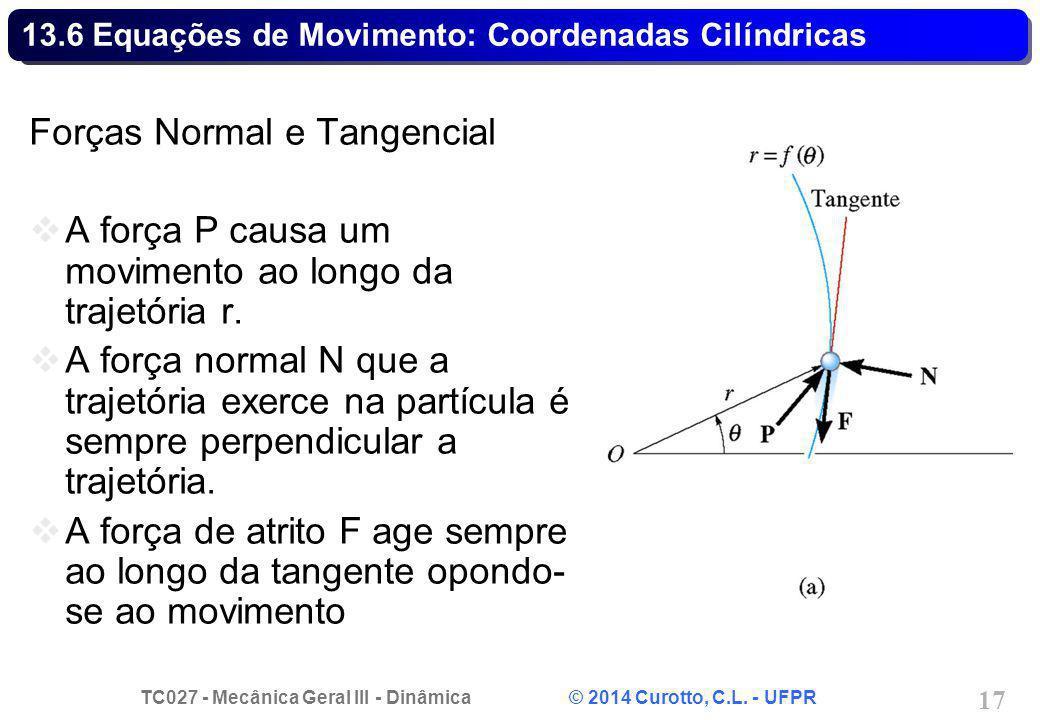 TC027 - Mecânica Geral III - Dinâmica © 2014 Curotto, C.L. - UFPR 17 13.6 Equações de Movimento: Coordenadas Cilíndricas Forças Normal e Tangencial A