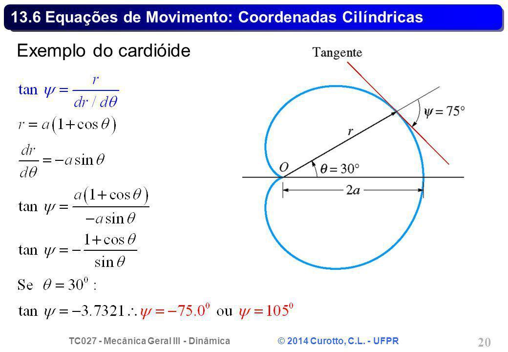 TC027 - Mecânica Geral III - Dinâmica © 2014 Curotto, C.L. - UFPR 20 13.6 Equações de Movimento: Coordenadas Cilíndricas Exemplo do cardióide