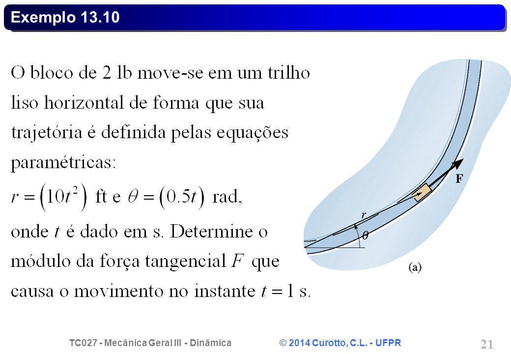 TC027 - Mecânica Geral III - Dinâmica © 2014 Curotto, C.L. - UFPR 21 Exemplo 13.10