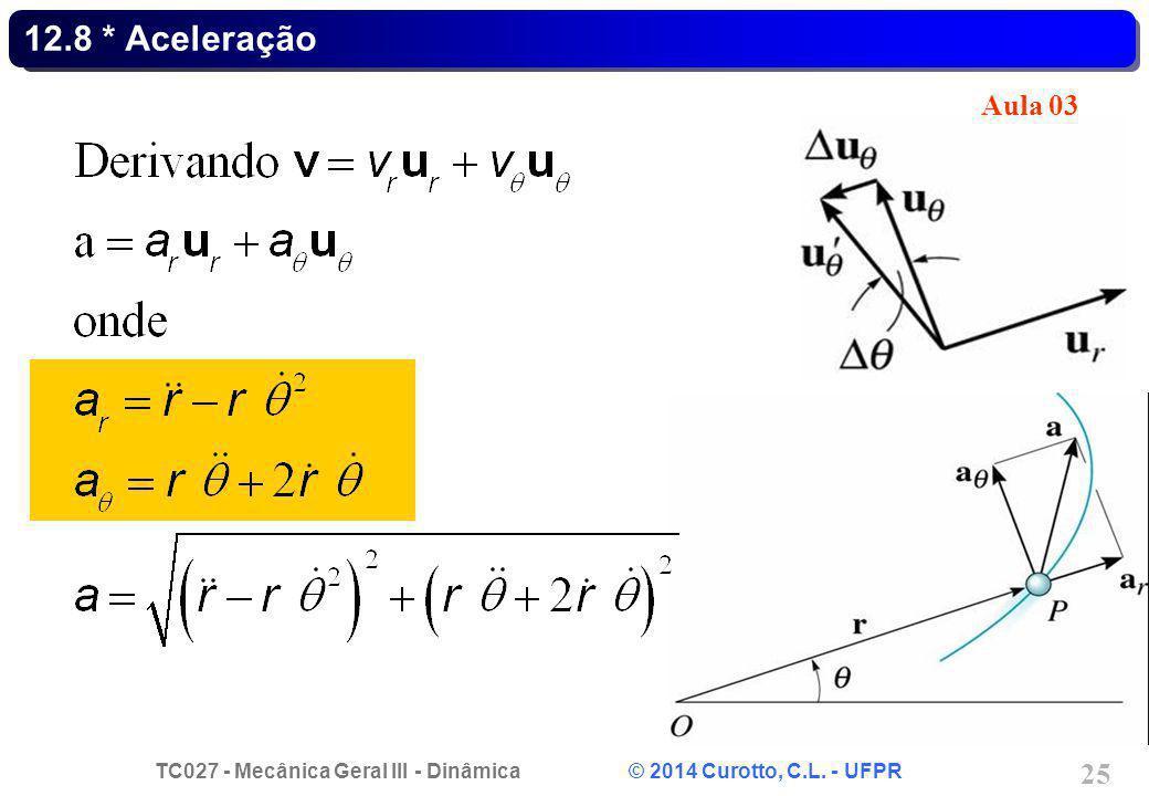 TC027 - Mecânica Geral III - Dinâmica © 2014 Curotto, C.L. - UFPR 25 12.8 * Aceleração Aula 03