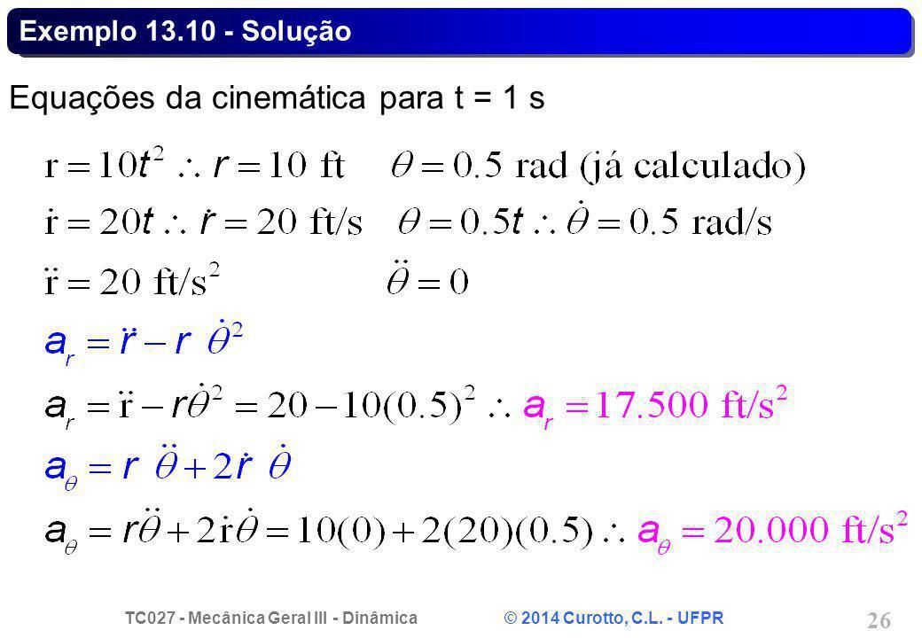 TC027 - Mecânica Geral III - Dinâmica © 2014 Curotto, C.L. - UFPR 26 Exemplo 13.10 - Solução Equações da cinemática para t = 1 s