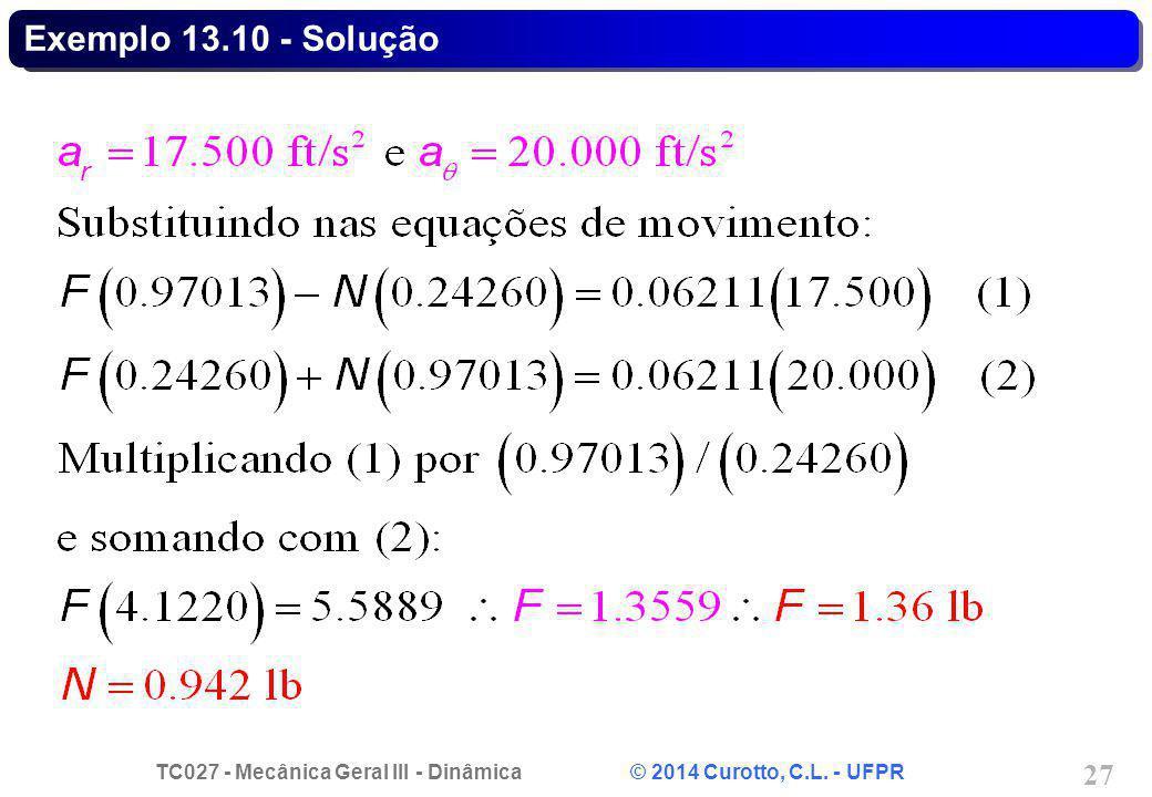 TC027 - Mecânica Geral III - Dinâmica © 2014 Curotto, C.L. - UFPR 27 Exemplo 13.10 - Solução