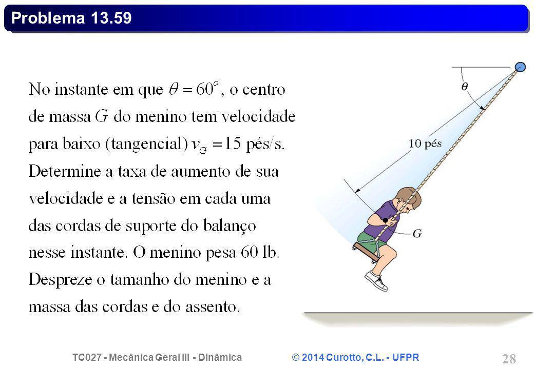 TC027 - Mecânica Geral III - Dinâmica © 2014 Curotto, C.L. - UFPR 28 Problema 13.59