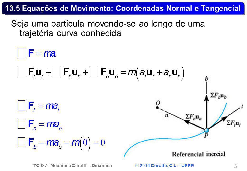 TC027 - Mecânica Geral III - Dinâmica © 2014 Curotto, C.L. - UFPR 3 13.5 Equações de Movimento: Coordenadas Normal e Tangencial Seja uma partícula mov