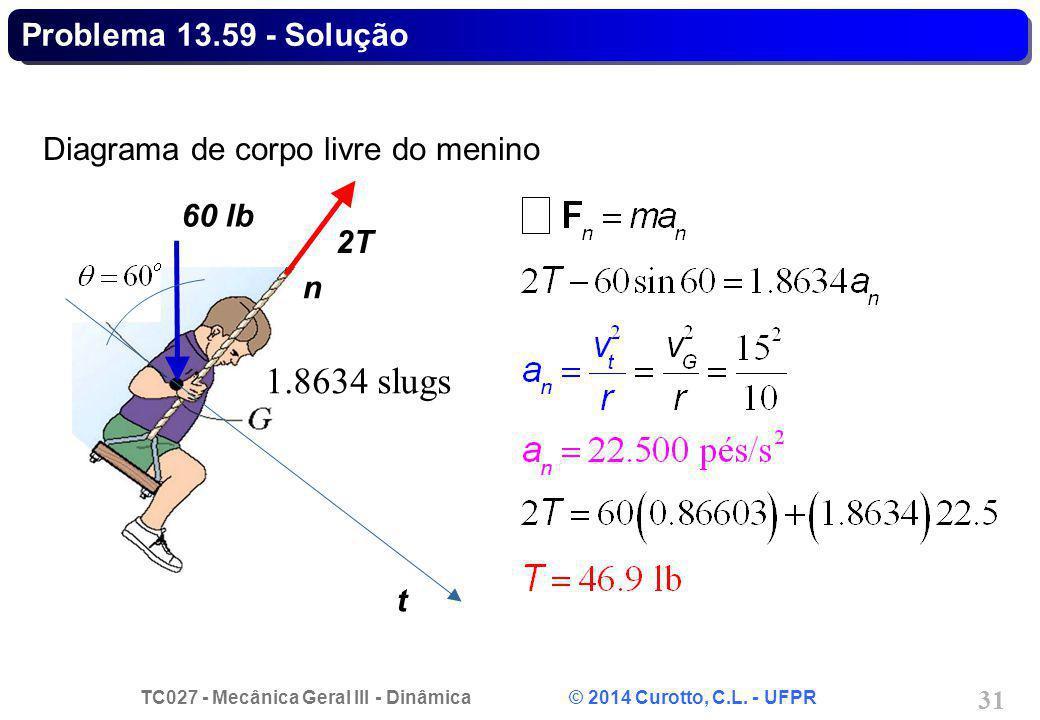 TC027 - Mecânica Geral III - Dinâmica © 2014 Curotto, C.L. - UFPR 31 Diagrama de corpo livre do menino t 2T 60 lb n Problema 13.59 - Solução 1.8634 sl