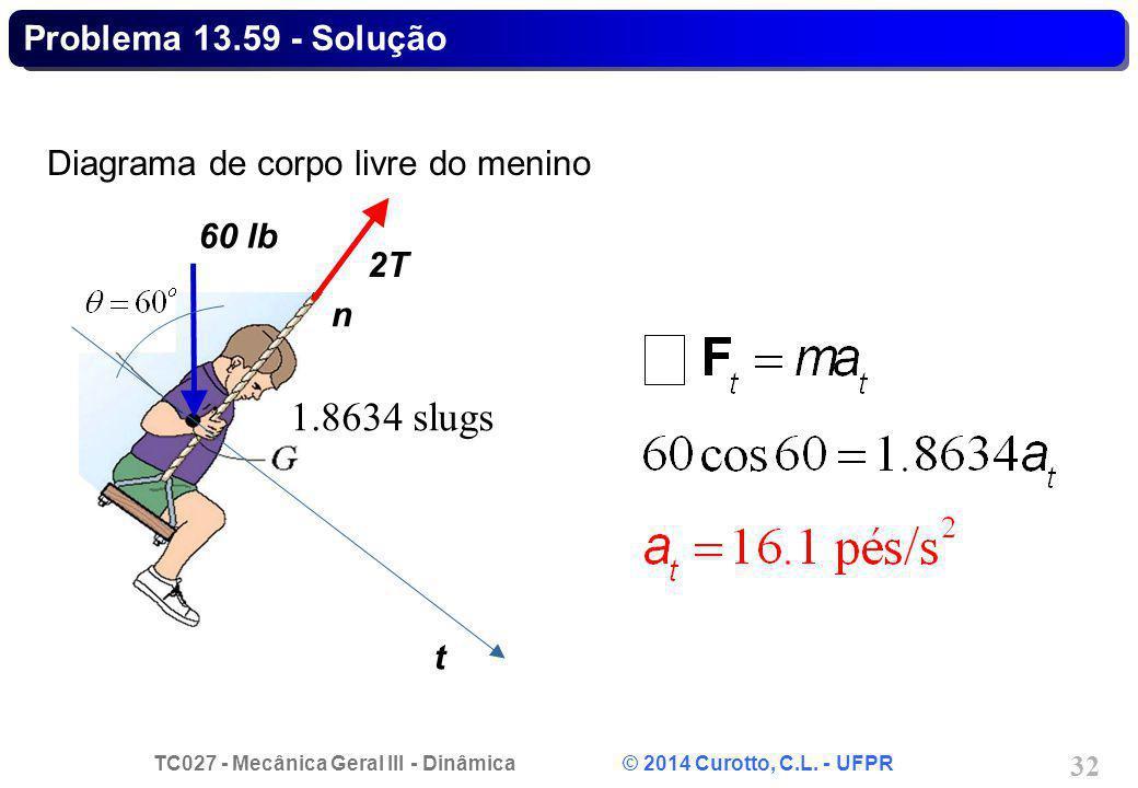 TC027 - Mecânica Geral III - Dinâmica © 2014 Curotto, C.L. - UFPR 32 Diagrama de corpo livre do menino t 2T 60 lb n Problema 13.59 - Solução 1.8634 sl