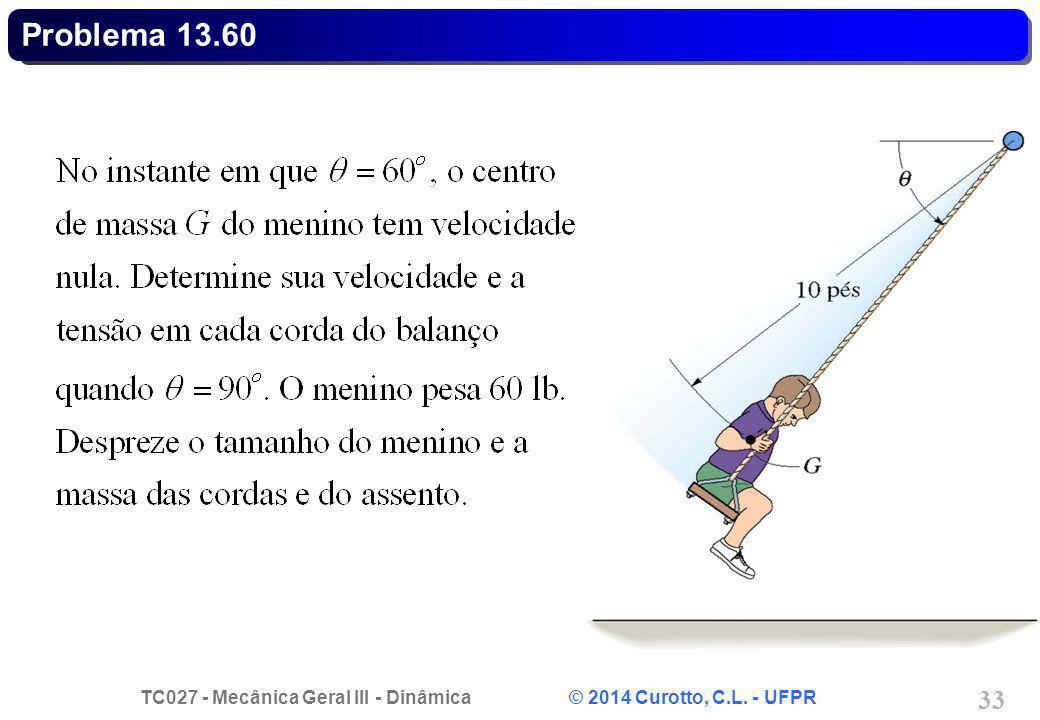 TC027 - Mecânica Geral III - Dinâmica © 2014 Curotto, C.L. - UFPR 33 Problema 13.60