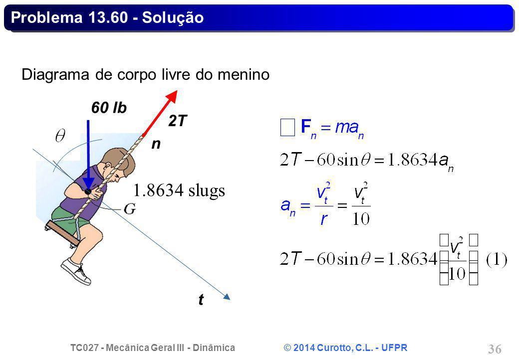 TC027 - Mecânica Geral III - Dinâmica © 2014 Curotto, C.L. - UFPR 36 Diagrama de corpo livre do menino t 2T 60 lb n Problema 13.60 - Solução 1.8634 sl