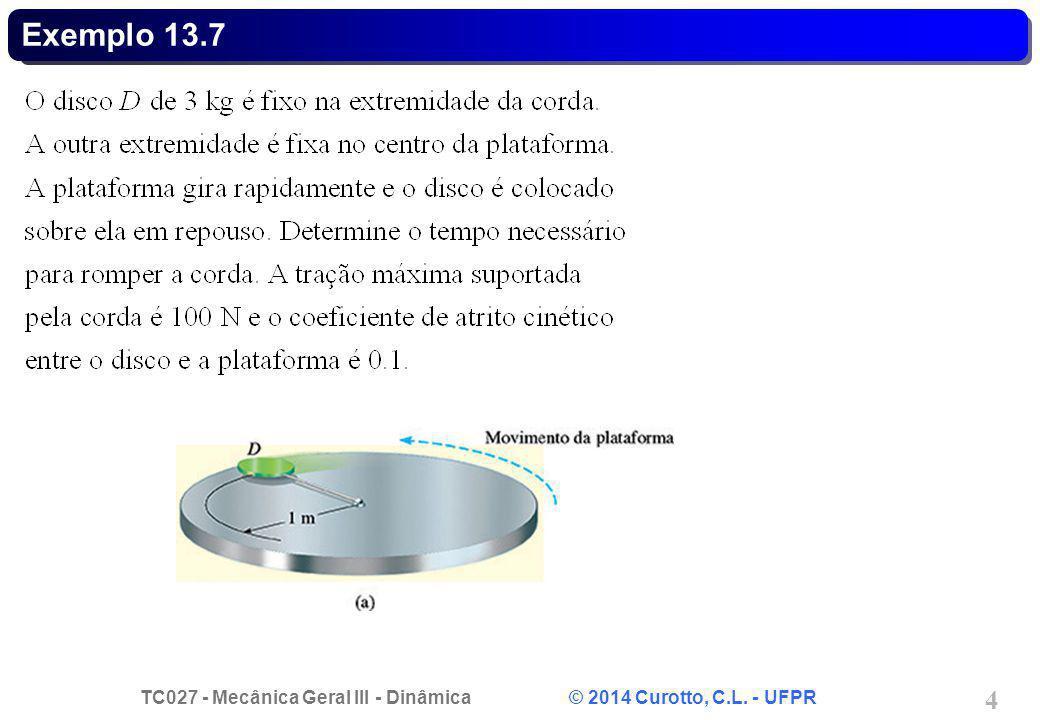 TC027 - Mecânica Geral III - Dinâmica © 2014 Curotto, C.L. - UFPR 4 Exemplo 13.7