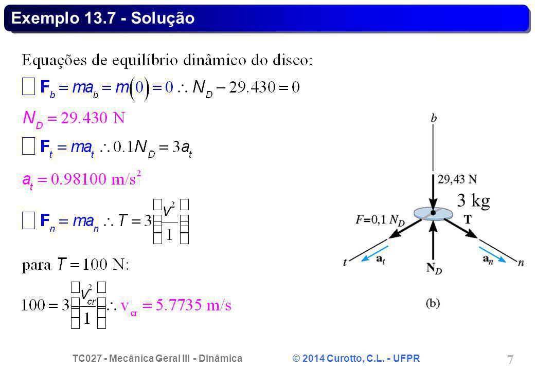 TC027 - Mecânica Geral III - Dinâmica © 2014 Curotto, C.L. - UFPR 7 Exemplo 13.7 - Solução 3 kg