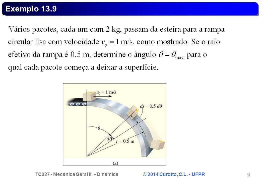 TC027 - Mecânica Geral III - Dinâmica © 2014 Curotto, C.L. - UFPR 9 Exemplo 13.9