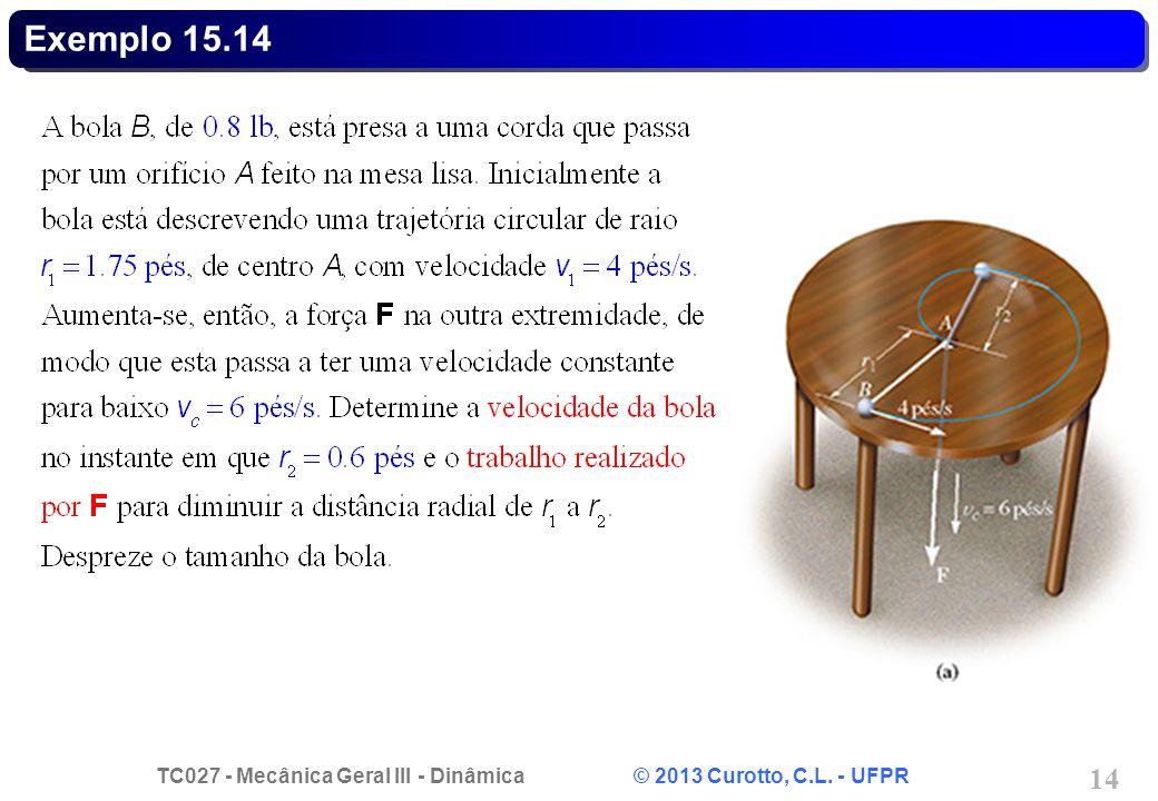 TC027 - Mecânica Geral III - Dinâmica © 2013 Curotto, C.L. - UFPR 14 Exemplo 15.14