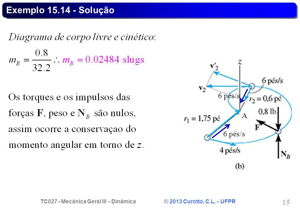 TC027 - Mecânica Geral III - Dinâmica © 2013 Curotto, C.L. - UFPR 15 Exemplo 15.14 - Solução 6 pés/s A