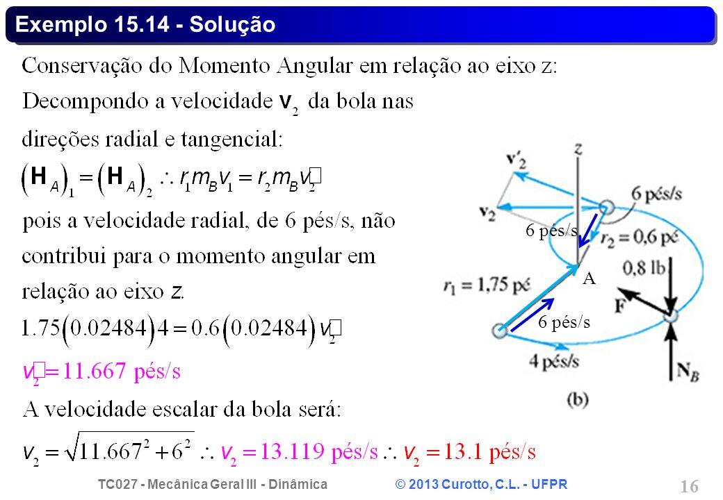 TC027 - Mecânica Geral III - Dinâmica © 2013 Curotto, C.L. - UFPR 16 Exemplo 15.14 - Solução 6 pés/s A