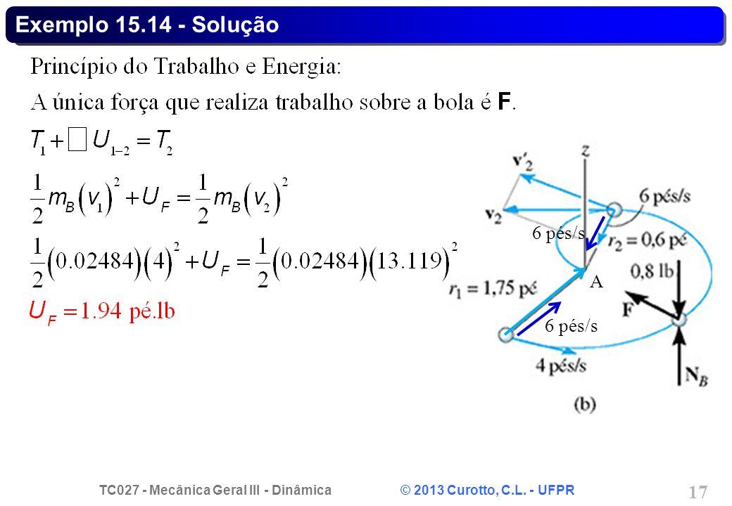 TC027 - Mecânica Geral III - Dinâmica © 2013 Curotto, C.L. - UFPR 17 6 pés/s A Exemplo 15.14 - Solução