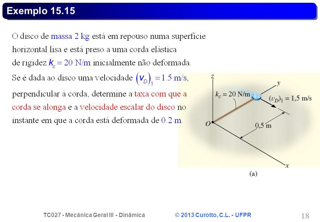 TC027 - Mecânica Geral III - Dinâmica © 2013 Curotto, C.L. - UFPR 18 Exemplo 15.15