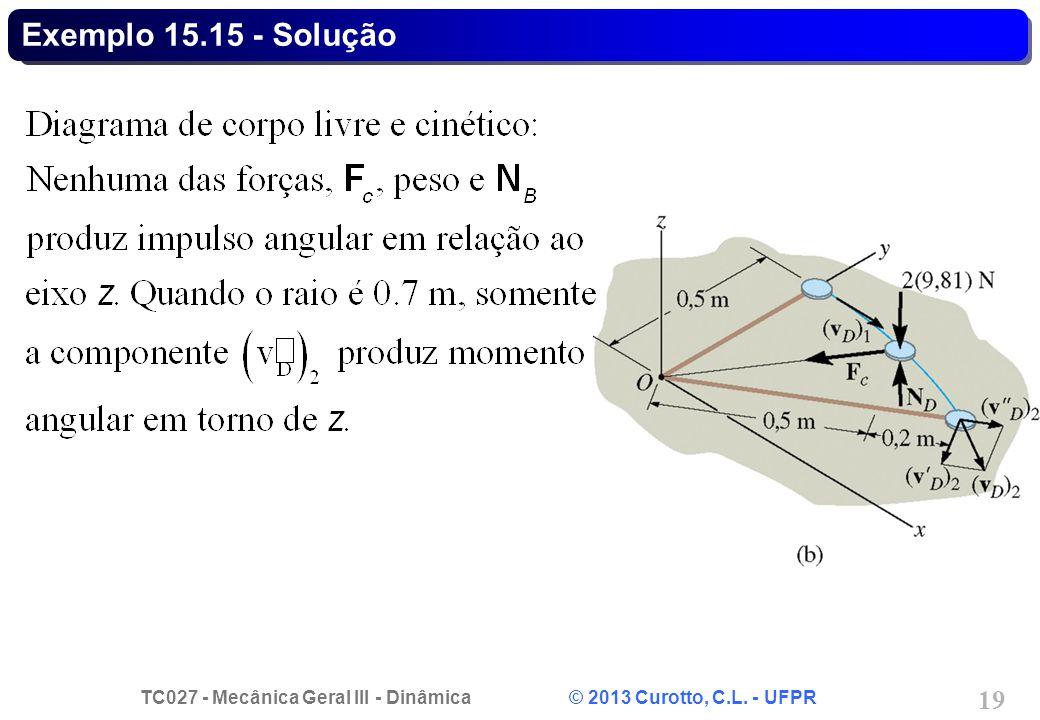 TC027 - Mecânica Geral III - Dinâmica © 2013 Curotto, C.L. - UFPR 19 Exemplo 15.15 - Solução