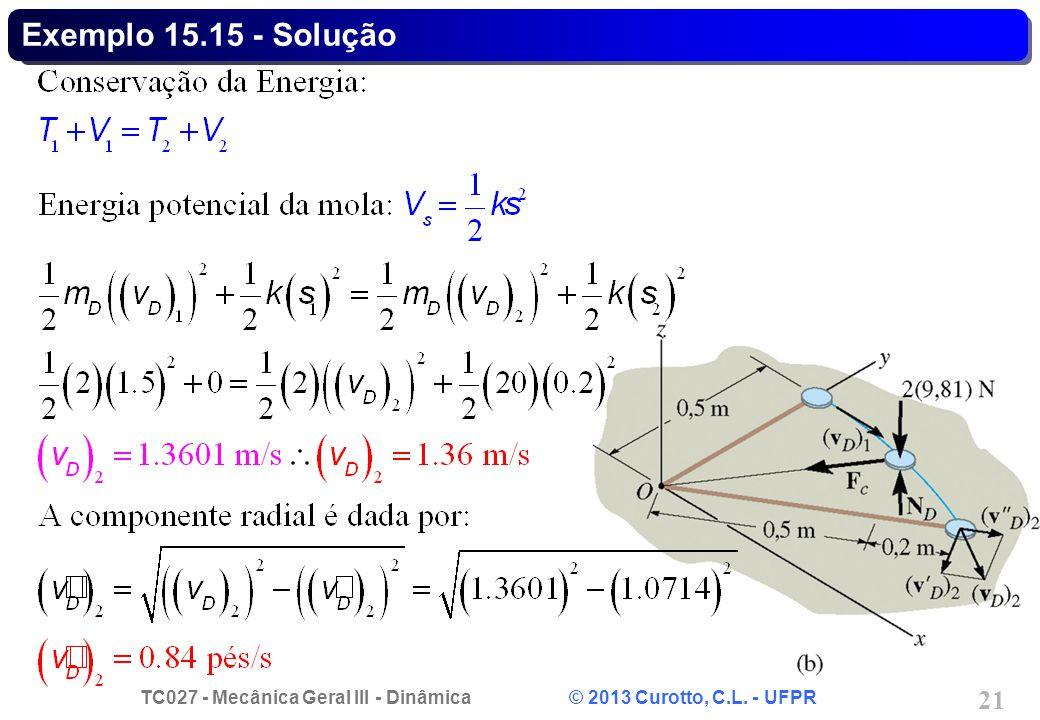 TC027 - Mecânica Geral III - Dinâmica © 2013 Curotto, C.L. - UFPR 21 Exemplo 15.15 - Solução
