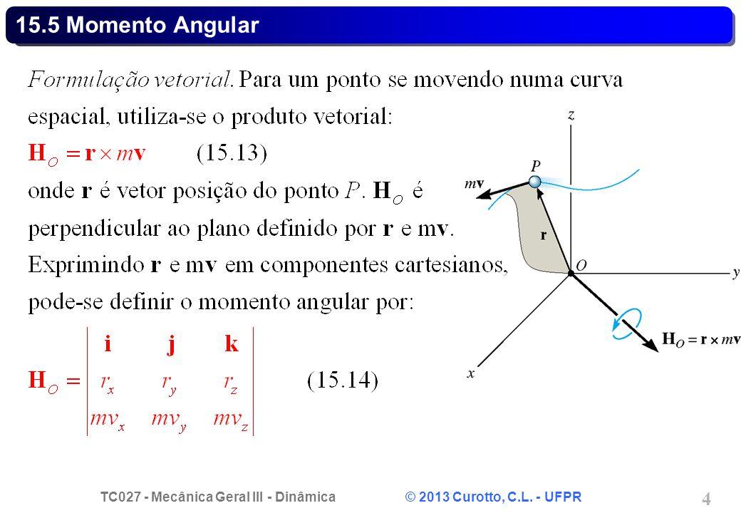 TC027 - Mecânica Geral III - Dinâmica © 2013 Curotto, C.L. - UFPR 4 15.5 Momento Angular