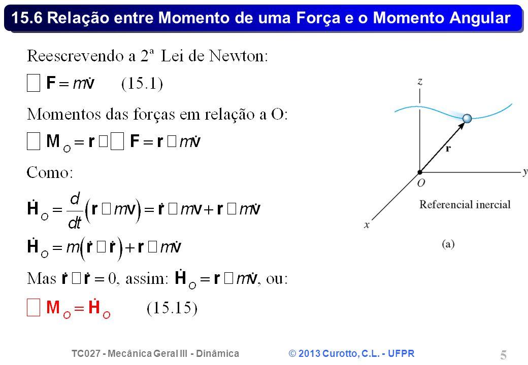 TC027 - Mecânica Geral III - Dinâmica © 2013 Curotto, C.L. - UFPR 5 15.6 Relação entre Momento de uma Força e o Momento Angular