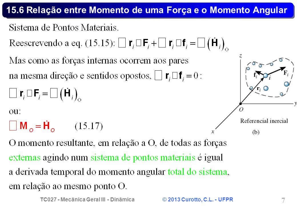TC027 - Mecânica Geral III - Dinâmica © 2013 Curotto, C.L. - UFPR 7 15.6 Relação entre Momento de uma Força e o Momento Angular