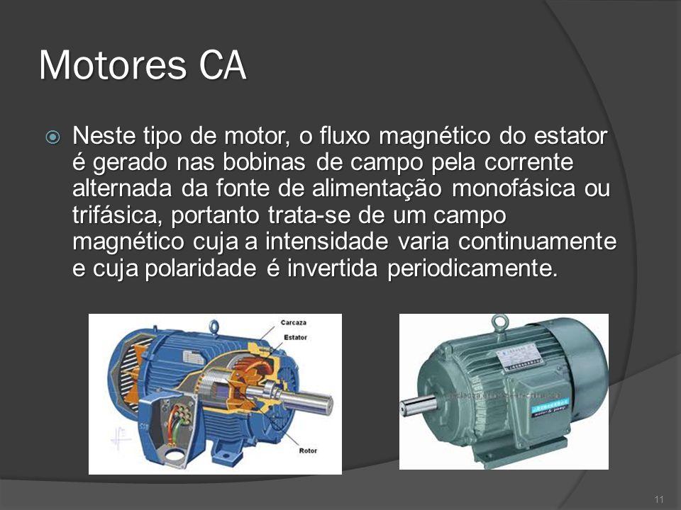 Motores CA Neste tipo de motor, o fluxo magnético do estator é gerado nas bobinas de campo pela corrente alternada da fonte de alimentação monofásica ou trifásica, portanto trata-se de um campo magnético cuja a intensidade varia continuamente e cuja polaridade é invertida periodicamente.