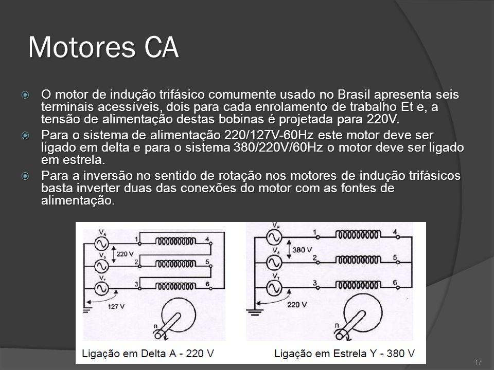 Motores CA O motor de indução trifásico comumente usado no Brasil apresenta seis terminais acessíveis, dois para cada enrolamento de trabalho Et e, a tensão de alimentação destas bobinas é projetada para 220V.