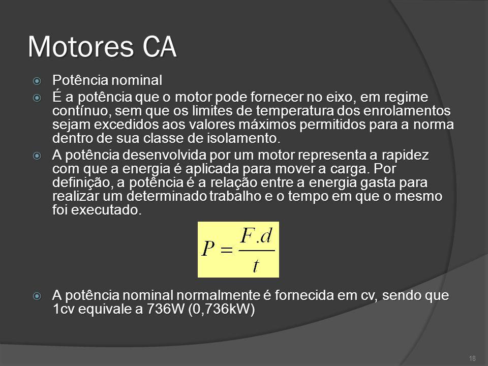 Motores CA Potência nominal Potência nominal É a potência que o motor pode fornecer no eixo, em regime contínuo, sem que os limites de temperatura dos enrolamentos sejam excedidos aos valores máximos permitidos para a norma dentro de sua classe de isolamento.