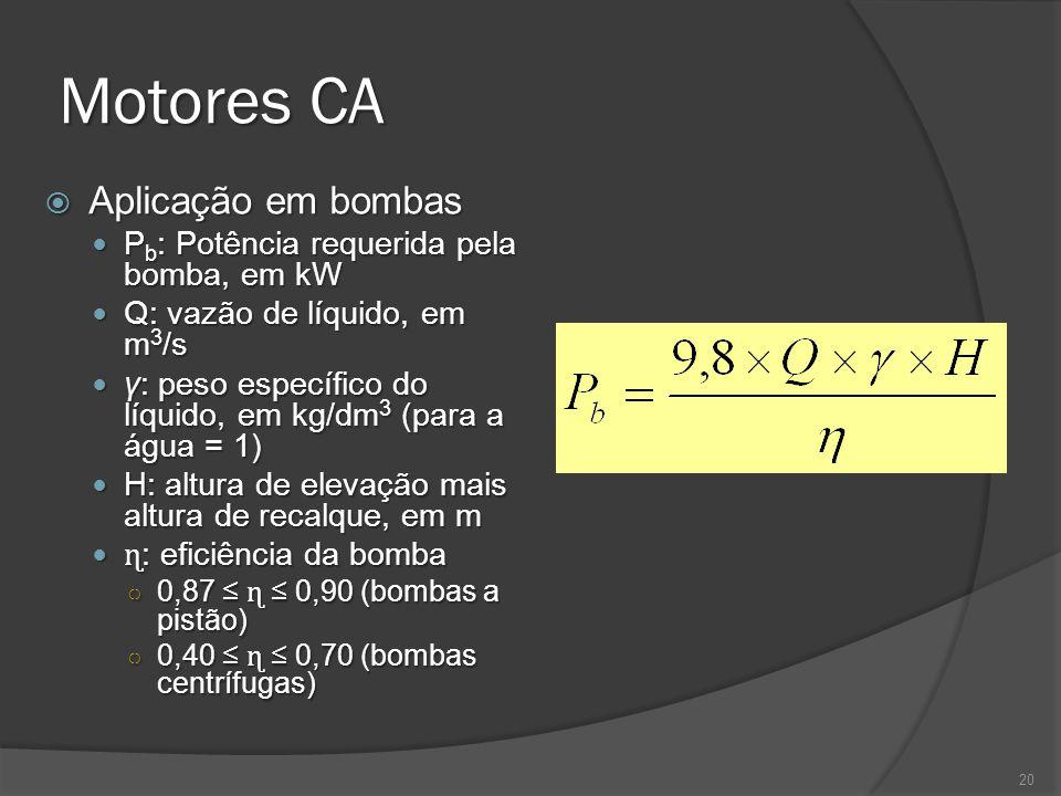 Motores CA Aplicação em bombas Aplicação em bombas P b : Potência requerida pela bomba, em kW P b : Potência requerida pela bomba, em kW Q: vazão de líquido, em m 3 /s Q: vazão de líquido, em m 3 /s γ: peso específico do líquido, em kg/dm 3 (para a água = 1) γ: peso específico do líquido, em kg/dm 3 (para a água = 1) H: altura de elevação mais altura de recalque, em m H: altura de elevação mais altura de recalque, em m ɳ : eficiência da bomba ɳ : eficiência da bomba 0,87 ɳ 0,90 (bombas a pistão) 0,87 ɳ 0,90 (bombas a pistão) 0,40 ɳ 0,70 (bombas centrífugas) 0,40 ɳ 0,70 (bombas centrífugas) 20