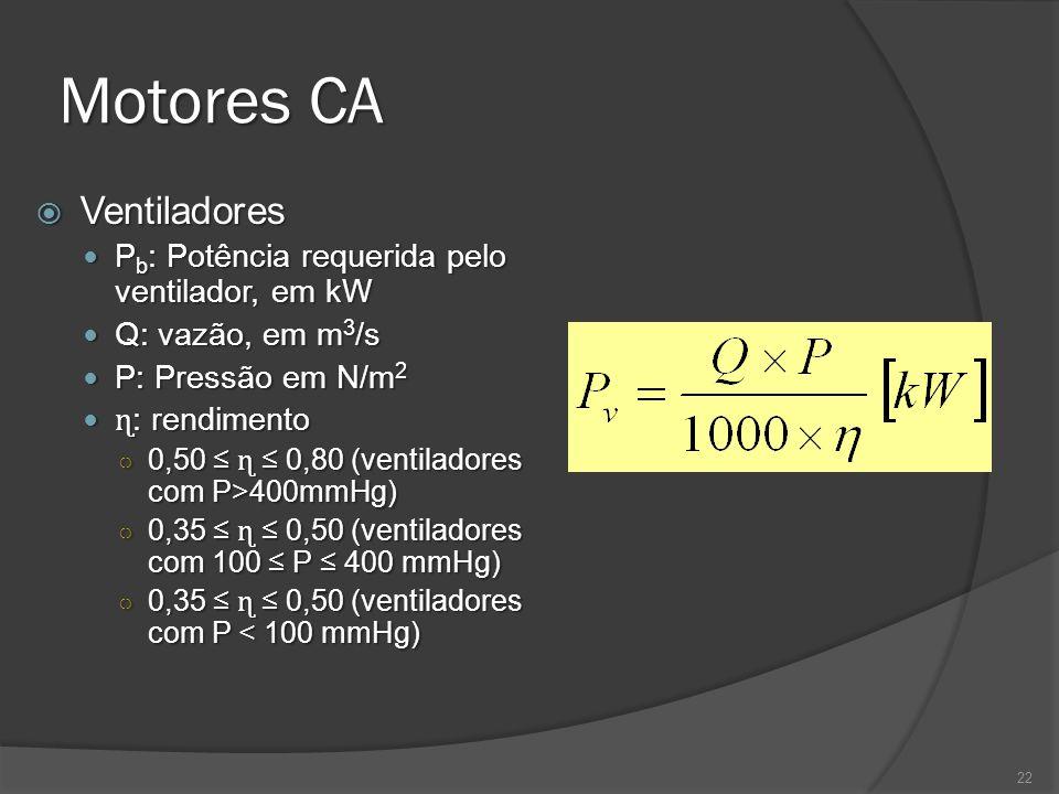 Motores CA 22 Ventiladores Ventiladores P b : Potência requerida pelo ventilador, em kW P b : Potência requerida pelo ventilador, em kW Q: vazão, em m 3 /s Q: vazão, em m 3 /s P: Pressão em N/m 2 P: Pressão em N/m 2 ɳ : rendimento ɳ : rendimento 0,50 ɳ 0,80 (ventiladores com P>400mmHg) 0,50 ɳ 0,80 (ventiladores com P>400mmHg) 0,35 ɳ 0,50 (ventiladores com 100 P 400 mmHg) 0,35 ɳ 0,50 (ventiladores com 100 P 400 mmHg) 0,35 ɳ 0,50 (ventiladores com P < 100 mmHg) 0,35 ɳ 0,50 (ventiladores com P < 100 mmHg)