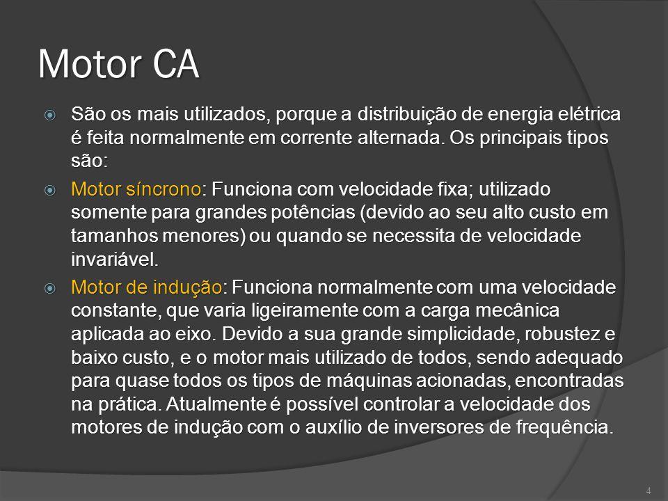 Motor CA São os mais utilizados, porque a distribuição de energia elétrica é feita normalmente em corrente alternada.